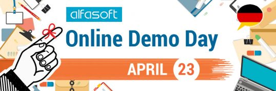 Alfasoft Online Demo Day 2020 Spring banner - German